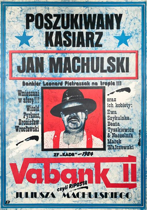 "Polska szkoła plakatu, plakat filmowy vintage PRL ""Vabank"" Jakub Erol, 1984"