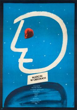 """Polska szkoła plakatu, oryginalny plakat filmowy vintage z okresu PRL """"Marcin w obłokach"""", proj. Jerzy Flisak, 1962"""