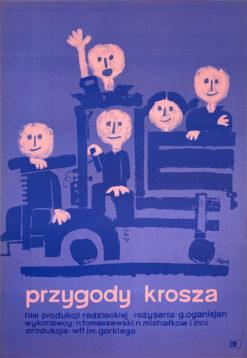 """Polska szkoła plakatu, oryginalny plakat filmowy vintage z okresu PRL """"Przygody Krosza"""", proj. Jerzy Flisak, 1962"""