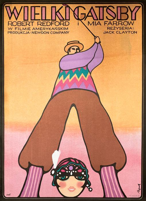 """Polska szkoła plakatu, oryginalny plakat filmowy vintage z okresu PRL """"Wielki Gatsby"""", proj. Jerzy Flisak, 1975"""