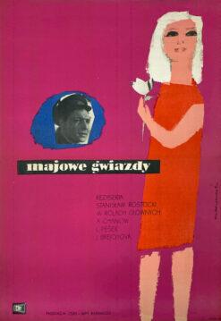 """Polska szkoła plakatu, plakat filmowy vintage PRL """"Majowe gwiazdy"""", proj. Ewa Frysztak, 1962"""