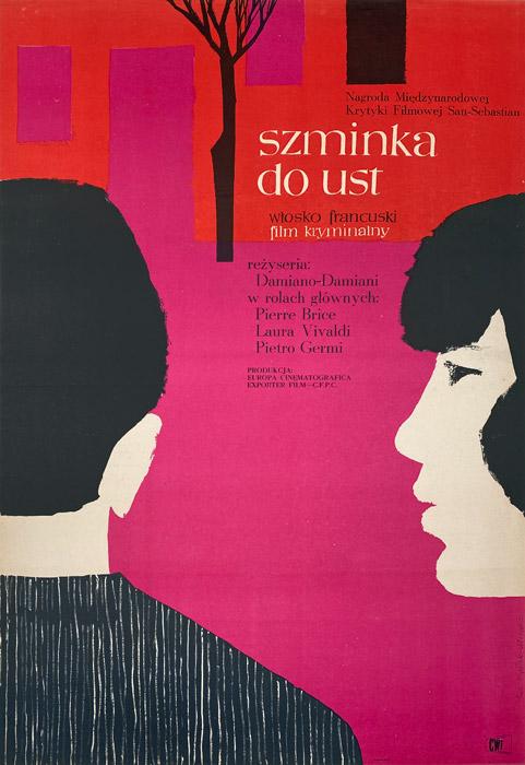 "Polska szkoła plakatu, plakat filmowy vintage PRL ""Szminka do ust"", proj. Ewa Frysztak, 1961"