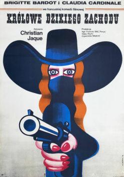 """Polska szkoła plakatu, plakat filmowy vintage PRL """"Królowe Dzikiego Zachodu"""", Wiktor Górka, 1973"""