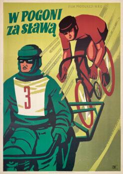 """Polska szkoła plakatu, plakat filmowy vintage PRL """"W pogoni za sławą"""", Wiktor Górka, 1952"""
