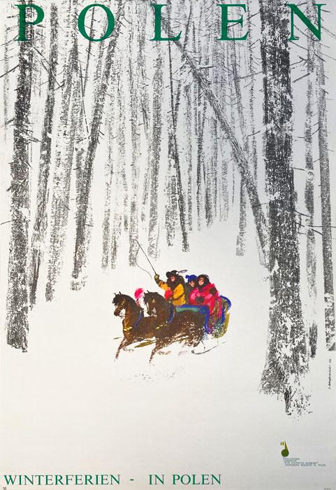 """Polska szkoła plakatu, plakat turystyczny vintage PRL """"Polska zaprasza na ferie zimowe"""", Janusz Grabiański, 1969"""