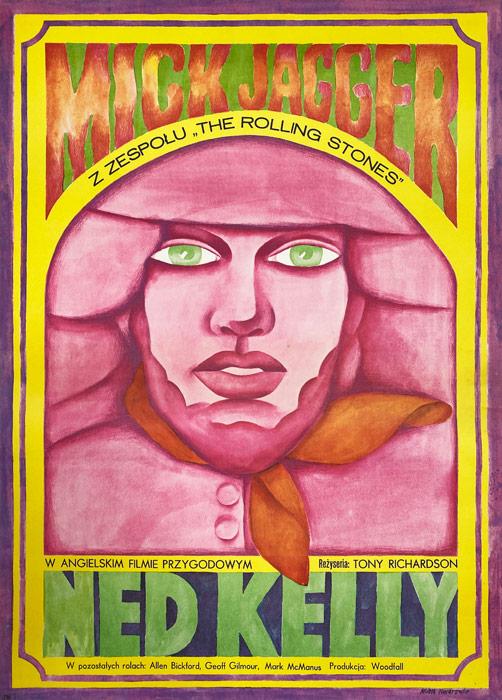 """Polska szkoła plakatu, plakat filmowy vintage PRL """"Ned Kelly"""", Maria Ihnatowicz, Mucha, 1973"""
