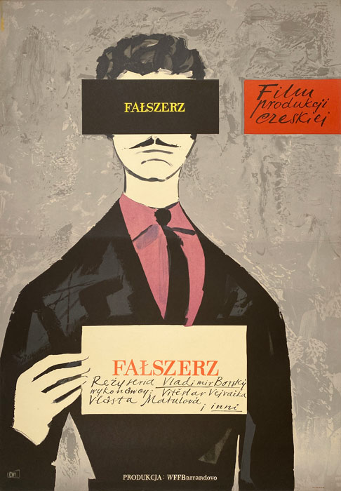 """Polska szkoła plakatu, oryginalny plakat filmowy vintage z okresu PRL """"Fałszerz"""", Jerzy Jaworowski, 1959"""