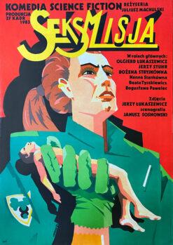 """Polska szkoła plakatu, plakat filmowy vintage PRL """"Seksmisja"""", Cyprian Kościelniak, 1983"""