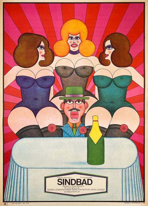"""Polska szkoła plakatu, plakat filmowy vintage PRL """"Sindbad"""", Andrzej Krajewski, 1971"""
