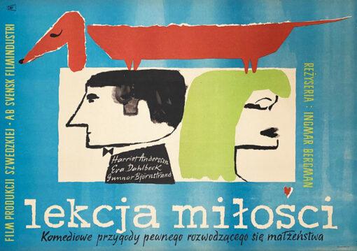 """Polska szkoła plakatu, plakat filmowy vintage PRL """"Lekcja miłości"""" Izabela Kulczyńska, 1960"""