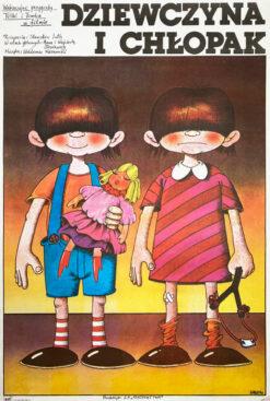 """Polska szkoła plakatu, oryginalny plakat filmowy vintage z okresu PRL """"Dziewczyna i chłopak"""", proj. Edward Lutczyn, 1981"""