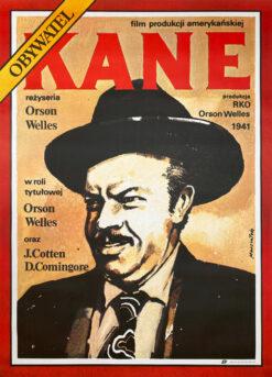 """Polska szkoła plakatu, plakat filmowy, vintage PRL """"Obywatel Kane"""", proj. Grzegorz Marszałek, 1987"""