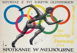 """Polska szkoła plakatu, plakat filmowy vintage PRL """"Spotkanie w Melbourne"""", Jan Młodożeniec, 1959"""