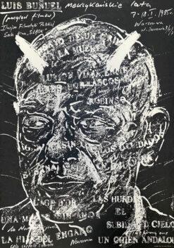 """Polska szkoła plakatu, plakat filmowy vintage PRL """"Louis Bunuel. Meksykańskie lata"""" Andrzej Pągowski, 1985"""