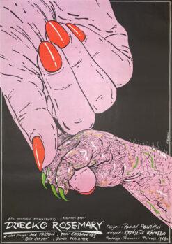"""Polska szkoła plakatu, plakat filmowy vintage PRL """"Dziecko Rosemary"""" Andrzej Pągowski, 1984"""