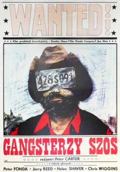 """Polska szkoła plakatu, plakat filmowy vintage PRL """"Gangsterzy szos"""" Andrzej Pągowski, 1981"""