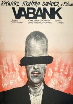 """Polska szkoła plakatu, plakat filmowy vintage PRL """"Vabank"""" Andrzej Pągowski, 1981"""