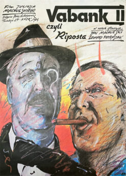 """Polska szkoła plakatu, plakat filmowy vintage PRL """"Vabank II czyli Riposta"""" Andrzej Pągowski, 1984"""