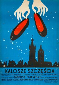 """Polska szkoła plakatu, plakat filmowy vintage PRL """"Kalosze szczęścia"""", Jerzy Srokowski, 1958"""