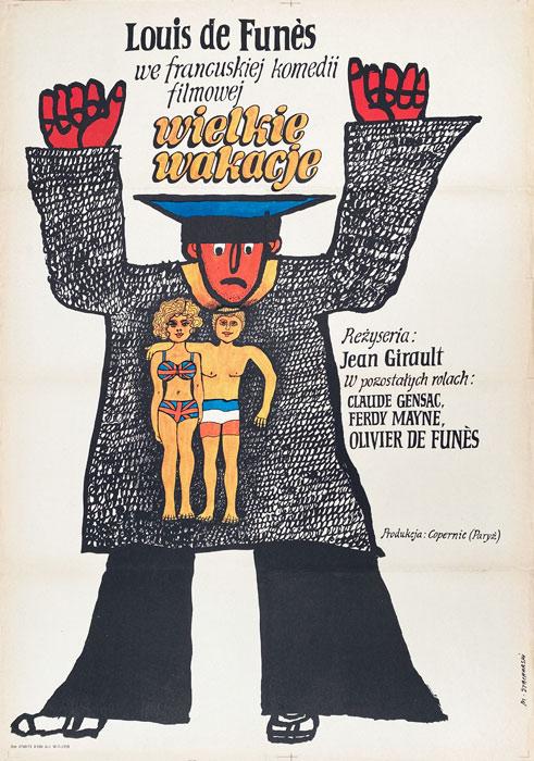 """Polska szkoła plakatu, plakat filmowy vintage PRL """"Wielkie wakacje"""", Marian Stachurski, 1971"""