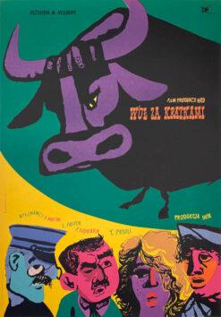 """Polska szkoła plakatu, plakat filmowy vintage PRL """"Wół za kratkami"""", Janusz Stanny, 1955"""