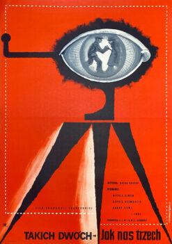"""Polska szkoła plakatu, plakat filmowy vintage PRL """"Takich dwóch jak nas trzech"""", Franciszek Starowieyski, 1958"""