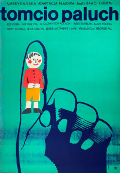 """Polska szkoła plakatu, plakat filmowy vintage PRL """"Tomcio Paluch"""", Maria Syska 1967"""