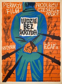 """Polska szkoła plakatu, plakat filmowy vintage PRL """"Ludzie bez skrzydeł"""", Henryk Tomaszewski, 1947"""