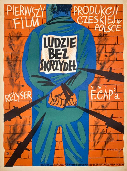 "Polish school of poster, Original vintage movie poster from PRL  ""Ludzie bez skrzydeł"", Henryk Tomaszewski, 1947"