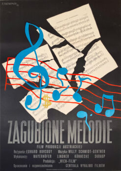 """Polska szkoła plakatu, plakat filmowy vintage PRL """"Zagubione melodie"""", Tadeusz Trepkowski, 1953"""