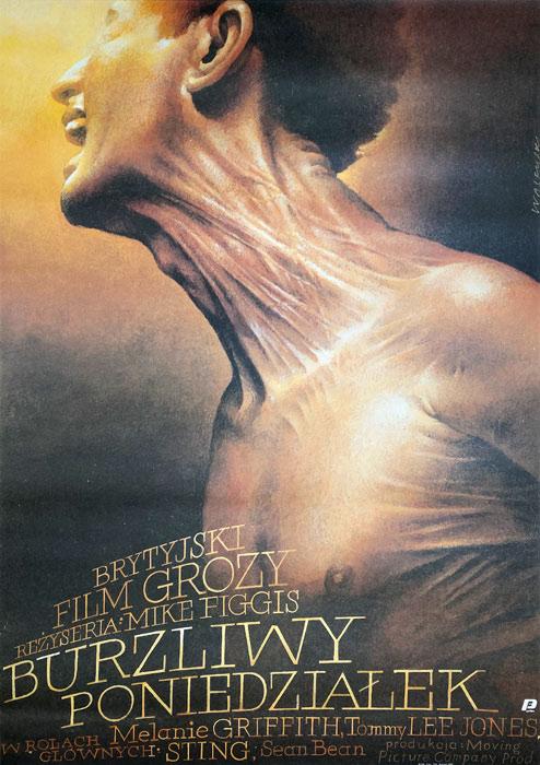 """Polska szkoła plakatu, oryginalny plakat filmowy vintage z okresu PRL """"Burzliwy poniedziałek"""", Wiesław Wałkuski, 1988"""