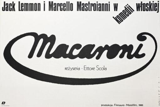 """Polska szkoła plakatu, plakat filmowy vintage PRL """"Macaroni"""", Mieczysław Wasilewski, 1987"""