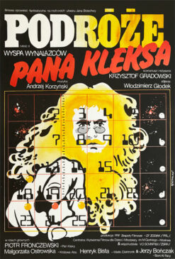 "Polska szkoła plakatu, plakat filmowy vintage PRL ""Podróże Pana Kleksa"" Jakub Erol, 1985"