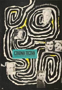 """Polska szkoła plakatu, oryginalny plakat filmowy vintage z okresu PRL """"Czarna teczka"""", Anna Huskowska, 1957"""