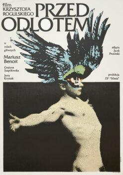 """Polska szkoła plakatu, oryginalny plakat filmowy vintage z okresu PRL """"przed odlotem"""", Andrzej Klimowski 1980"""