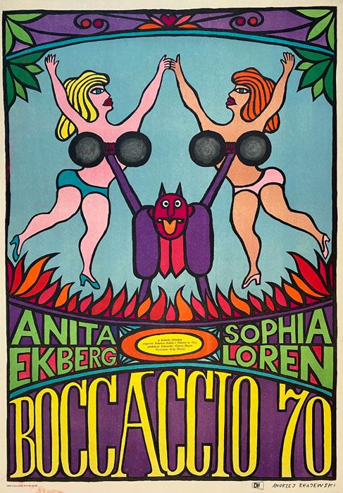 """Polska szkoła plakatu, plakat filmowy vintage PRL """"Boccaccio 70"""", Andrzej Krajewski, 1967"""
