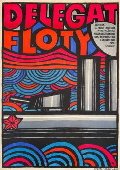 """Polska szkoła plakatu, plakat filmowy vintage PRL """"Delegat floty"""", Andrzej Krajewski, 1967"""