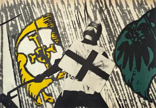 """Polska szkoła plakatu, plakat filmowy vintage PRL """"Krzyżacy"""", Jan Lenica, 1960."""