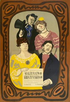 """Polska szkoła plakatu, plakat filmowy vintage PRL """"Małżeństwo Kreczyńskiego"""", Jan Lenica, 1953"""