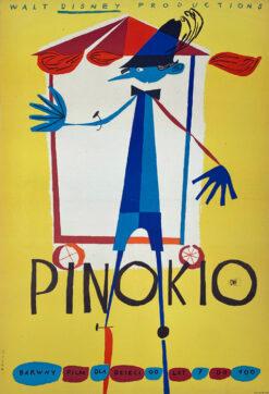 """Polska szkoła plakatu, plakat filmowy vintage PRL """"Pinokio"""", Krzysztof Mann, 1962."""