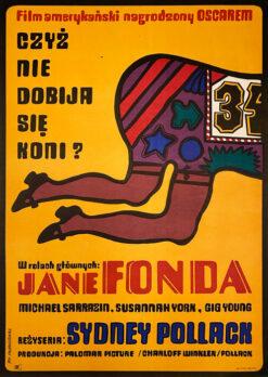 """Polska szkoła plakatu, oryginalny plakat filmowy vintage z okresu PRL """"Czyż nie dobija się koni"""", Jan Młodożeniec, 1971"""
