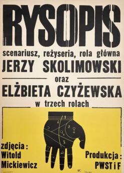 """Polska szkoła plakatu, oryginalny plakat filmowy vintage z okresu PRL """"Rysopis"""", proj. Jacek Neugebauer, 1965"""