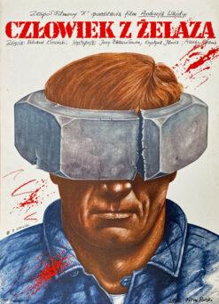 """Polska szkoła plakatu, plakat filmowy vintage PRL """"Człowiek z żelaza"""", Rafał Olbiński, 1981"""