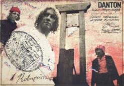 """Polska szkoła plakatu, plakat filmowy vintage PRL """"Danton"""" Andrzej Pągowski, 1982"""