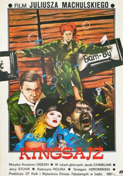 """Polska szkoła plakatu, plakat filmowy vintage PRL """"Kingsajz"""" Andrzej Pągowski, 1987"""