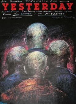 """Polska szkoła plakatu, plakat filmowy vintage PRL """"Yesterday"""" Andrzej Pągowski, 1985"""
