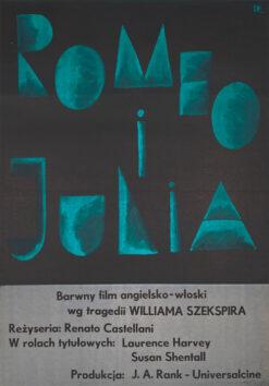 "Polska szkoła plakatu, plakat filmowy vintage PRL ""Romeo i Julia"", Julian Pałka, 1961."