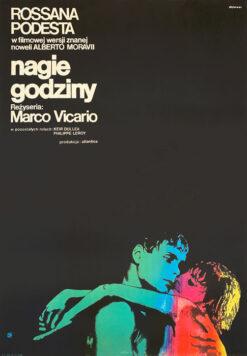 """Polska szkoła plakatu, plakat filmowy vintage PRL """"Nagie godziny"""", Janusz Rapnicki, 1966"""