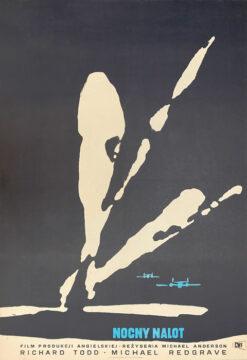 """Polska szkoła plakatu, oryginalny plakat filmowy vintage z okresu PRL """"Nocny nalot"""", Waldemar Świerzy, 1957"""