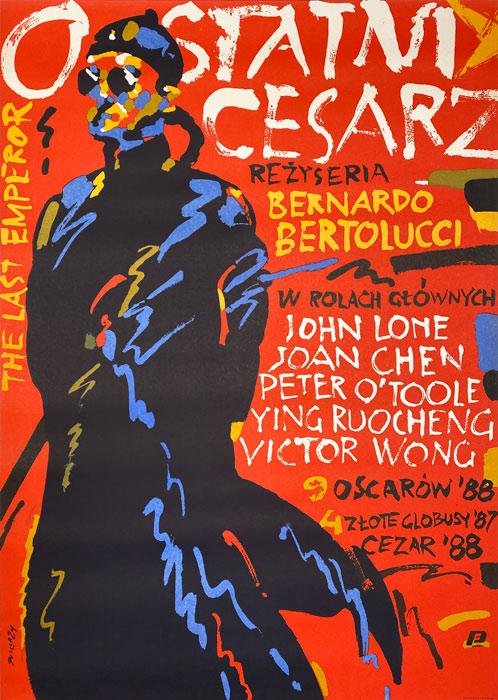 """Polish school of poster, Original vintage movie poster from PRL  """"Ostatni cesarz"""" Waldemar Świerzy, 1989"""